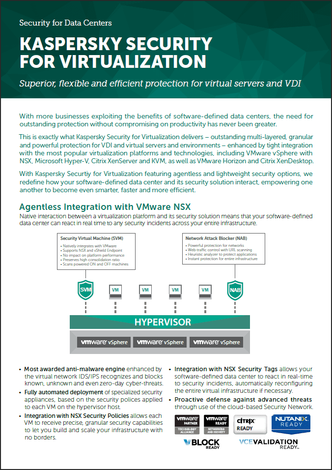 Kaspersky Security for Virtualization – faktablad