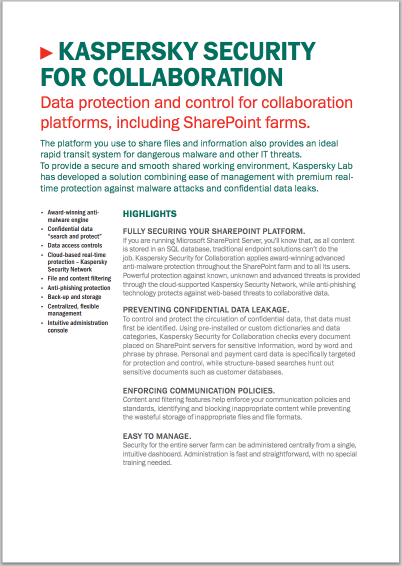 KASPERSKY SECURITY FOR COLLABORATION – FAKTABLAD