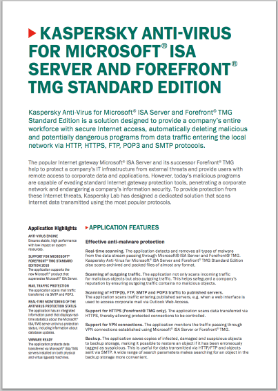Kaspersky Anti-Virus for Microsoft® ISA Server and Forefront® TMG Standard Edition – faktablad